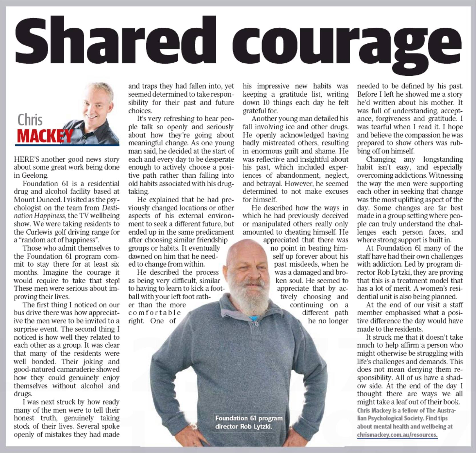 An article by Chris Mackey entitled Shared Courage