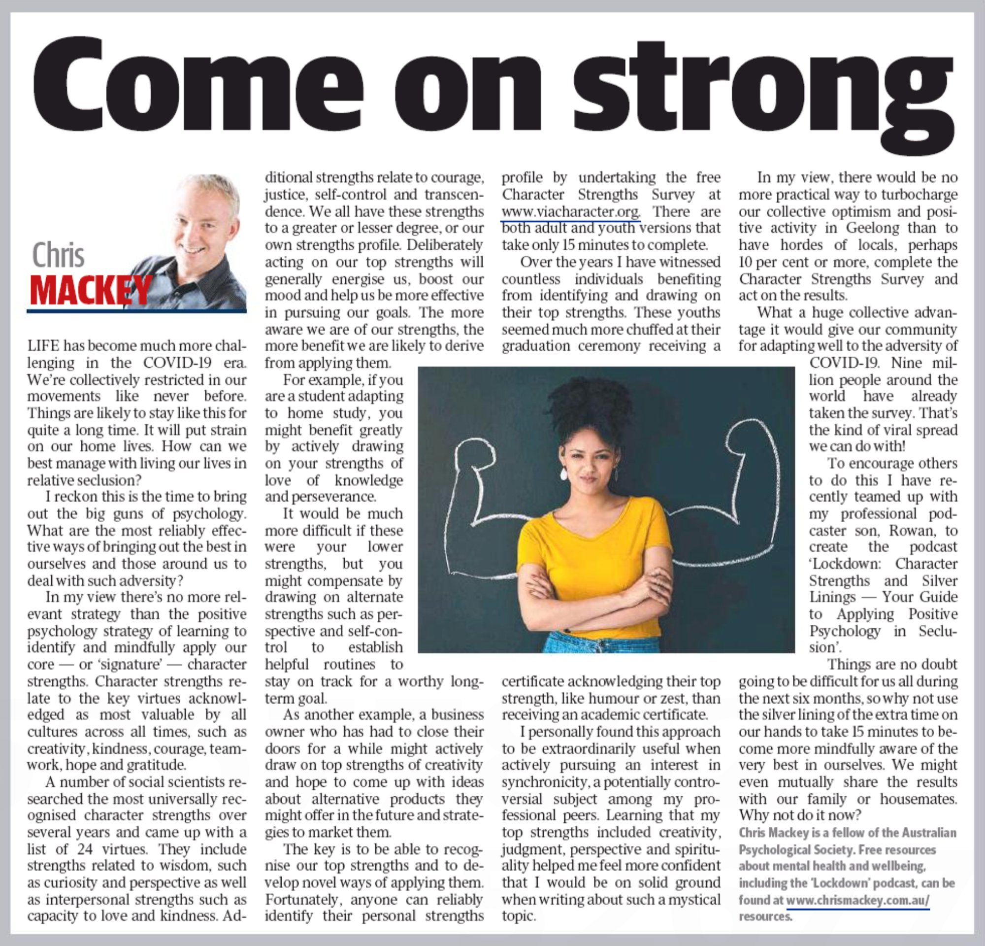 Geelong Advertiser article by Chris Mackey entitled Come on Strong